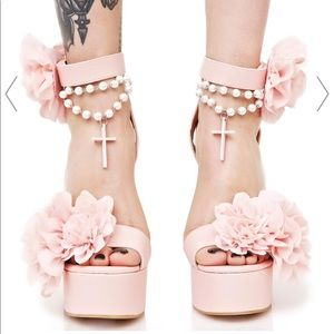 Sugar thrillz blush rosary heels